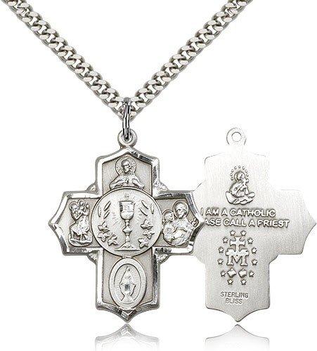 5 Way Cross Pendant, Sterling Silver