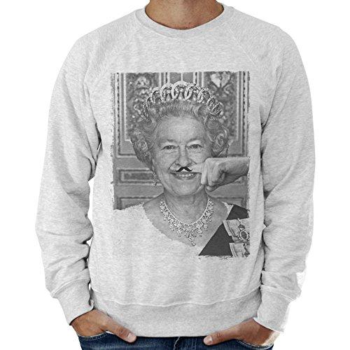 Felpa Leggera Uomo Regina Elisabetta Ii Regno Unito Dito Baffi Mustache Funny - Grigio