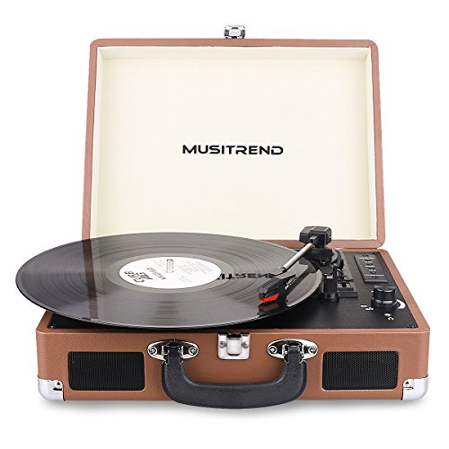 Musitrend Bluetooth Record Player Portable Suitcase Turntable with Built-in Speakers, USB/SD Recorder, Rechargable battery, Headphone Jack, RCA line out, Brown (Old Fashion Turntable compare prices)
