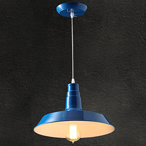 BAYCHEER HL371766 Industrial Retro style Wrought Iron Large Pendant Light Lamp Modern Chandelier 1 Light for Barn Warehouse restaurant, Dark Blue 2