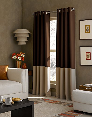 Curtainworks Kendall Color Block Grommet Curtain Panel, 84-Inch, Chocolate (Chocolate Brown Curtains compare prices)