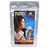 RELAXING SLEEP TEA - 14 Day - Herbal Bedtime Calming Aid - Helps Insomnia and Anxiety - Peaceful Mind and Body - Organic Superior Quality - With Ginger Root - Chamomile - Holy Basil - Saffron