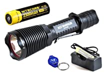 Olight M22 Warrior Rechargeable Bundle: 950 Lumen CREE XM-L2 LED Tactical Flashlight, Black Bezel, 18650 rechargeable Battery, Charger & Bright LumenTac Keychain Light