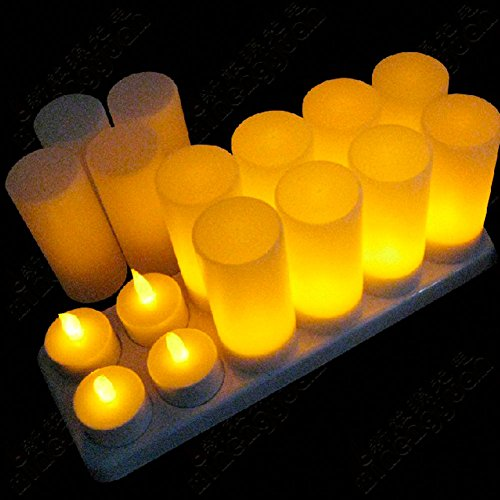 Fuloon Set Of 12 Rechargeable Tea Light Tealight Candles With Frosted Cups-No Batteries Replacement