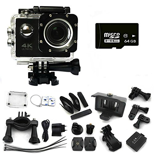 Ultimate-4K-30-fps-Wifi-Waterproof-30M-Extreme-Sport-Action-Camera-with-64-GB-SD-Card-Mini-Helmet-Cam-Recorder-Marine-Diving-Wide-Angle-Lens-and-tons-of-Accessories-BLACK