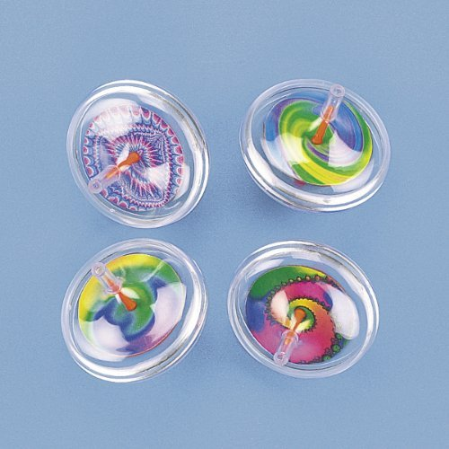Fun Express Plastic Swirl Spin Tops (1 Dozen)
