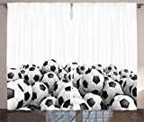 Ambesonne Sports Decor Collection, Illustration of Soccer Ball Championship Tournament Stadium Exercise Picture Print, Living Room Bedroom Curtain 2 Panels Set, 108 X 90 Inches, Black and White