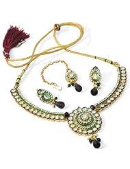 R S Jewels Gold Plated Kundan Enamel Necklace Set