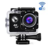 APEMAN 4K Action Camera, Ultra HD 4K 20MP Action Cam, Built in Wi-Fi and Waterproof to 30m, 170° Wide-Angle Lens with Portable Package and Dual 1050mAh Batteries