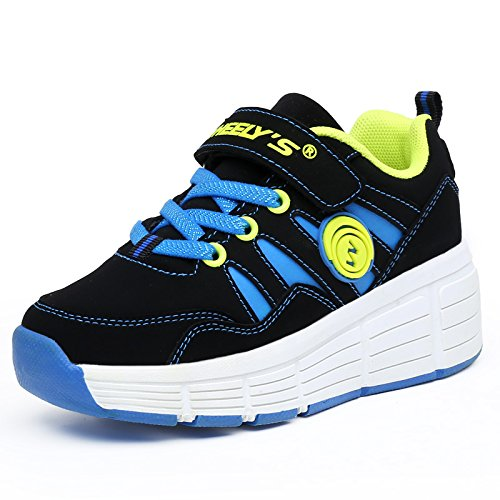 KE Unisex bambini Sneakers luce LED ruote Auto-punto Heelys Roller Shoes Pattini Sports Night Scarpe da corsa (EU30, Black Blue(one wheel))