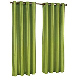 Stylemaster Tribecca Faux Silk Grommet 56-Inch by 84-Inch Window Panel, Emerald