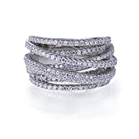 Rhodium Plated Sterling Silver Top Quality Fashion Ring Intertwined Design, 13.5mm Height with CZ ( Size 5 to 9) from Double Accent
