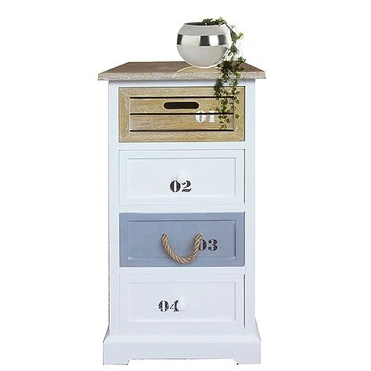 Kommode Number MDF weiß grau braun inkl. Beschriftung 4 Schubladen