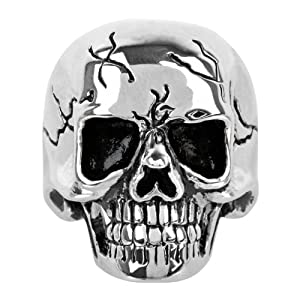 Men's Stainless Steel Cracked and Polished Skull Ring - Size 14