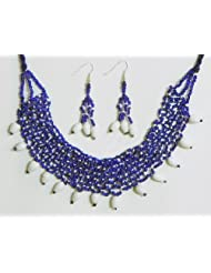 Blue And White Bead Necklace And Earrings - Beads