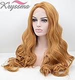K'ryssma Blonde Long Wavy Synthetic Hair Lace Front Wigs for Women Half Hand Tied Heat Resistant Fiber