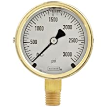 "NOSHOK 300 Series Brass Liquid Filled Dial Indicating Pressure Gauge with Bottom Mount, 2-1/2"" Dial, +/-1.5% Accuracy, 0-3000 psi Pressure Range"