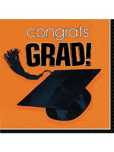 Congrats Grad Orange Luncheon Napkins (36 Pack) by Unknown