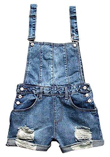 Difyou Women's Fray Pokcet Suspender Denim Overall Shorts Blue