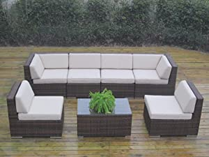 Ohana Collection PN7037NMB Genuine Ohana Outdoor Patio Wicker Furniture 7-Piece Gorgeous Couch Set with Free Patio Cover, Mixed Brown by Ohana Depot - DROP SHIP