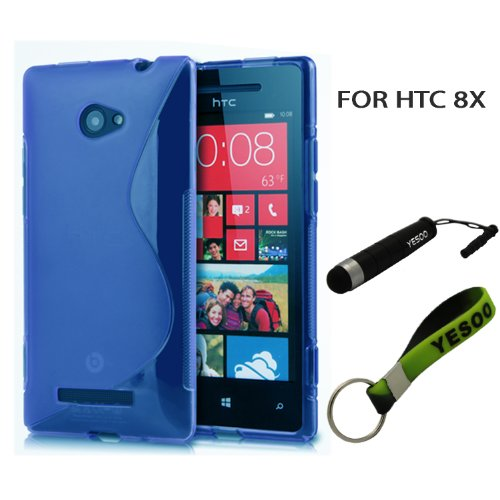 Blue Slim Fit Flex S Line TPU Case for HTC 8X, Windows Phone 8X With Exclusive Aluminum Touch Pen And Black And Green Color Key Chain Kit (Htc Windows 8x Case compare prices)
