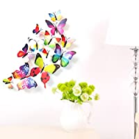 12 Pieces 3D Butterfly Stickrs Fashion Design DIY Wall Decoration House Decoration Babyroom Decoration Multicolor from ZooYoo