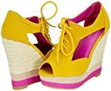 Bamboo Energy-21 Mustard Women Wedge Pumps
