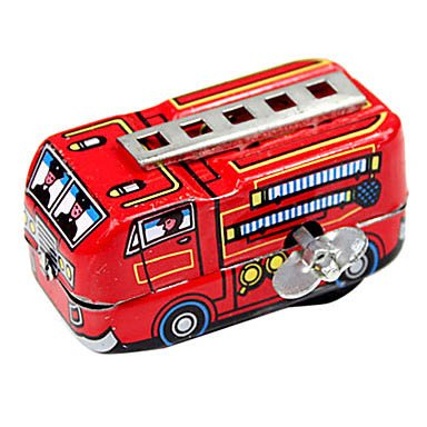 Handcrafted Nostalgic Metal Spring Fire Truck Children Tin Toy(Red) front-947874