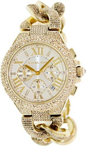 Michael Kors Camille Chronograph Champagne Dial Gold-tone Glitz Watch MK3248