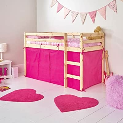 Bright Pink Tent For Shorty Mid Sleeper Bed Pink Girls Bedroom Toys Games Storage Tidy Girls Mid Sleeper Tent Pack for Bunk Bed