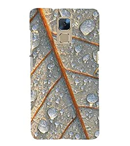 Fuson Premium Back Case Cover Dew drops on leaves With Yellow Background Degined For Huawei Honor 7