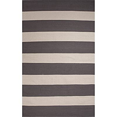 Jaipur RUG123865 Flat-Weave Stripe Pattern Cotton Area Rug, 2' by 3', Gray/White