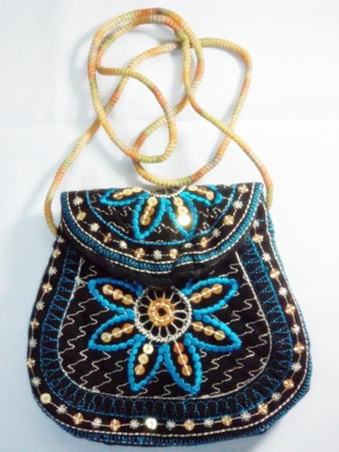 1 Hippie Blue Embroidered Money Neck / Crossbody Bags Purses