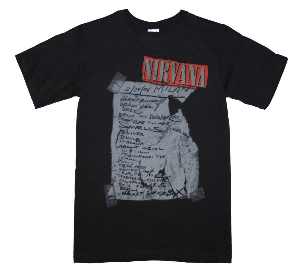 Unique Vintage Nirvana Milan Set List T-Shirt High Quality 0