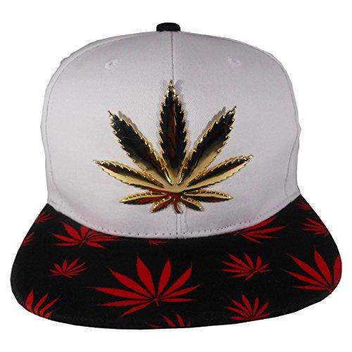 Cap2Shoes-Mens-Marijuana-Metal-Weed-Leaf-Snapback-One-Size-Red