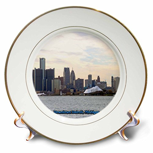 3dRose cp_57008_1 Downtown Detroit, Michigan Porcelain Plate, 8-Inch
