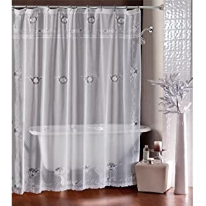 white ivy lace winter shower curtain holiday clearance sheer shower curtain. Black Bedroom Furniture Sets. Home Design Ideas