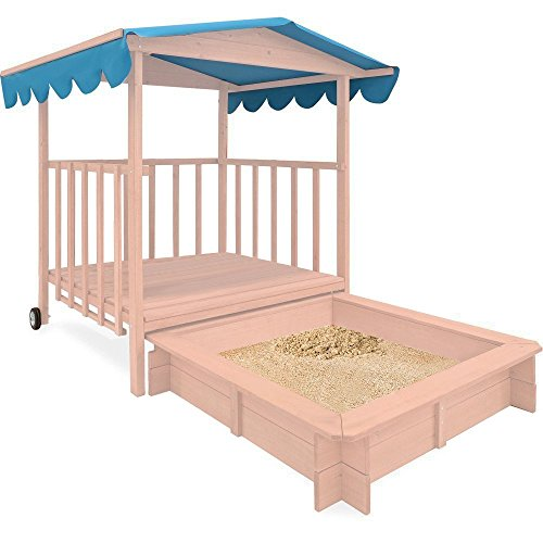 Costzon-Beach-Cabana-Sandbox-with-Retractable-Playhouse-Kids-Children-Outdoor-Toy-Gift-Without-sand-and-toys