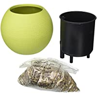 Lechuza PURO-20 Lime Green Flower Pot With Filling Stones (2 Kg, Light Green)