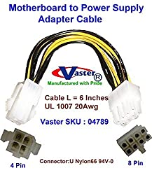 VASTER SKU - 94789 - ATX Server Motherboard Power Supply Adapter, 4 Female to 8 Male, 6 Inches