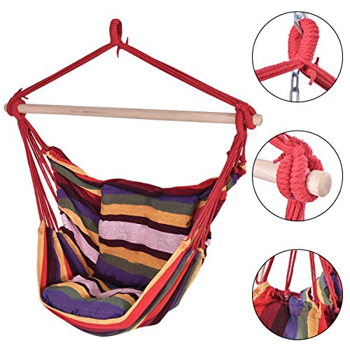 Red Deluxe Hammock Rope Chair Patio Porch Yard Tree Hanging Air Swing Outdoor (Blue Ridge Hot Tub Filters compare prices)