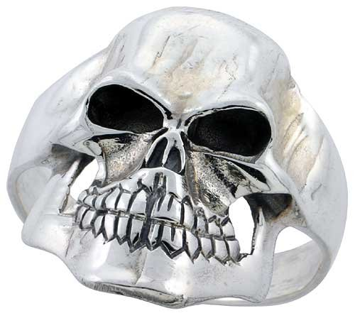 Sterling Silver Gothic Biker Skull Ring 1 1/16 inch (27 mm) wide, size 14