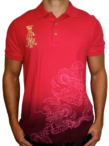 CHRISTIAN AUDIGIER Ed Hardy Dragon Lion Tattoo Mens Cotton Short Sleeve Polo Shirt Top