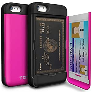 iPhone 5 Case, TORU [CARD SLOT] iPhone 5S Wallet Case [SHOCKPROOF] [KICKSTAND] [MIRROR] Protective Hybrid Card Case for iPhone 5S (2013) / iPhone 5 (2012) - Hot Pink (115STPUSKS-HP)