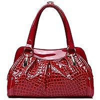 PASTE Women's Elegant Split Leather Crocodile Grain Embosing Totes/Shoulder Bag,Handbag Red