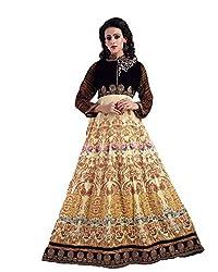 Clickedia Women Digital Printed With Zardosiwork Yellow & Brown Semi Stitched Gown