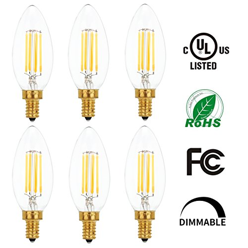 6 Pack LED Filament Candelabra Light Bulbs Dimmable C35 4W, 40W Equivalent Candle Bulbs E12 Base UL Listed 2700K Warm White (Par 38 Motion Sensor compare prices)