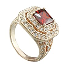 buy Fm42 Square Shaped Red Crystal Vintage Style Split Shank With Clear Crystal Halo Ring R1119 Size 6