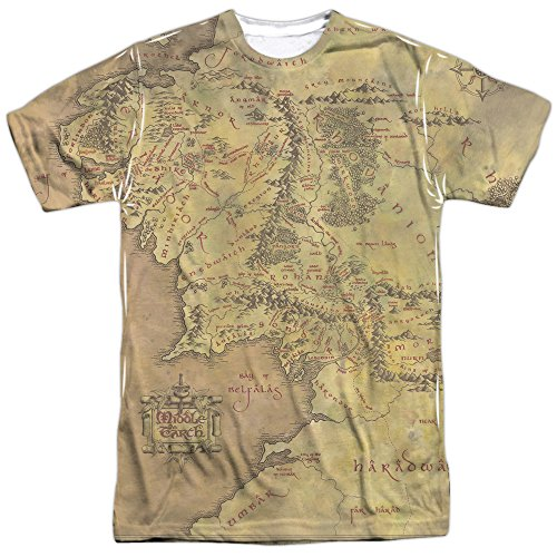 The Lord of the Rings Middle Earth Map (Front Back Print) Mens Shirt MD (Map Ring compare prices)