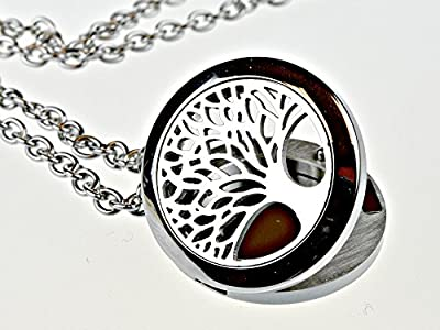 """Tree Of Life Essential Oil Diffuser Necklace Stainless Steel Locket Pendant with 24"""" Chain"""